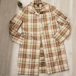 GAP Lightweight Plaid Trench coat sz M